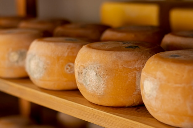 Close-up rustic cheese wheels