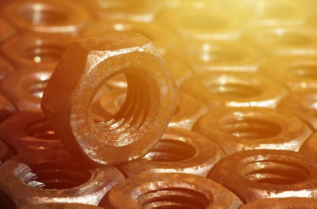 Close-up of rusty nuts