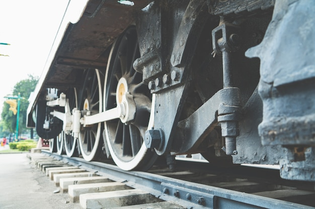 Close up of the rusty wheel train on the railway track