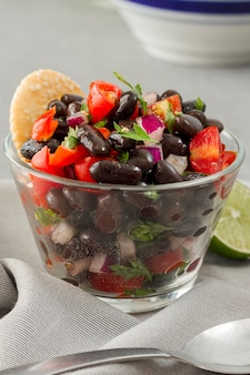 Close-up salad with black beans