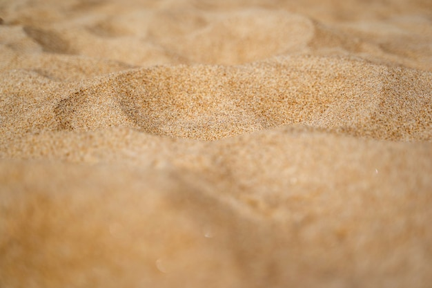 Close up of sand shore with blurred sea