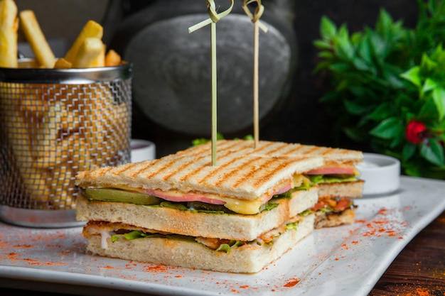 Close up sandwich with fried potato and sauce on wooden table