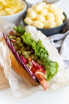Close-up sandwich with snacks