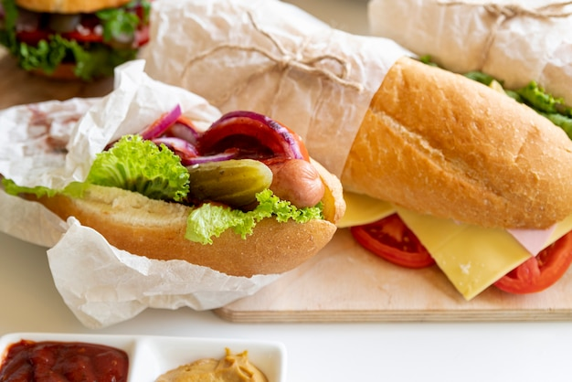 Close-up sandwiches on cutting board