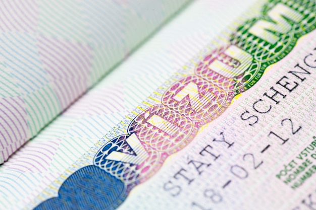 Close up of schengen visa