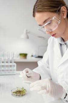 実験室で科学者をクローズアップ