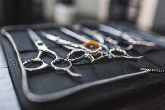 Close-up scissors in bag