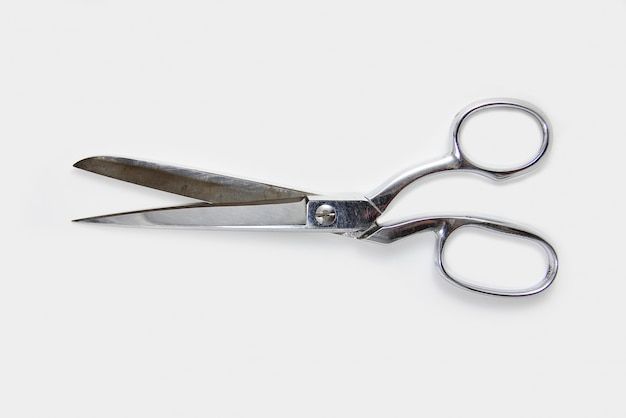 Close up of scissors on white background.