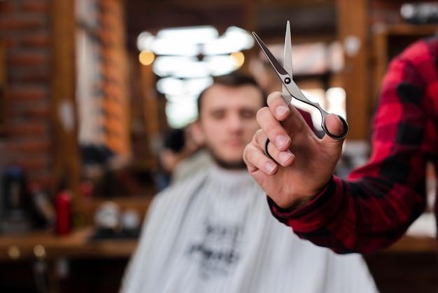 Close-up scissors with defocused background