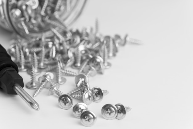 Close-up screws on white table