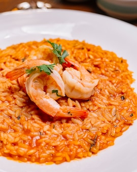 Close up of seafood risotto plate with tomato sauce garnished with shrimp