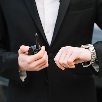 Close-up security man outdoor