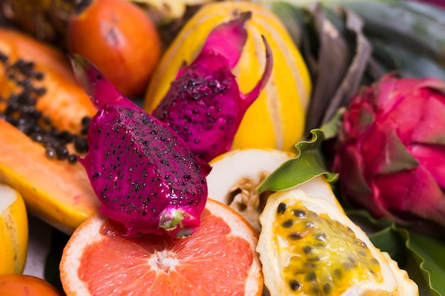 Close-up selection of delicious exotic fruits