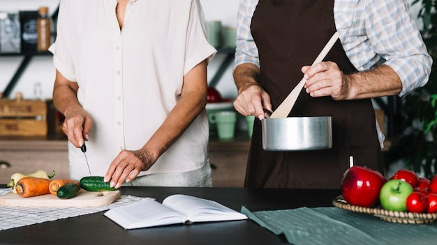Close-up of senior couple preparing food in the kitchen