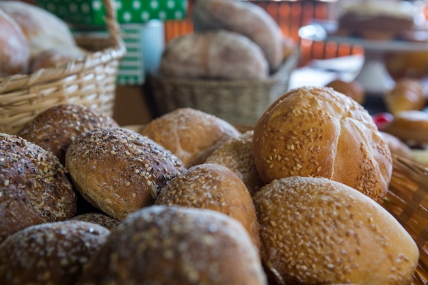 Close-up of sesame breads in basket