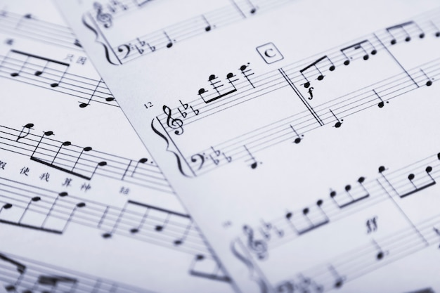 Close-up sheet music