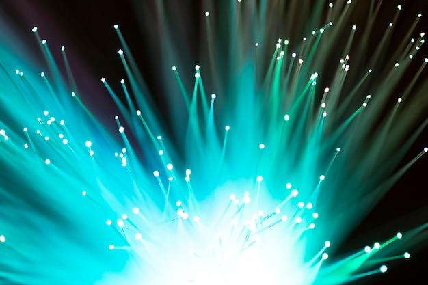 Close-up of shiny green fiber optics