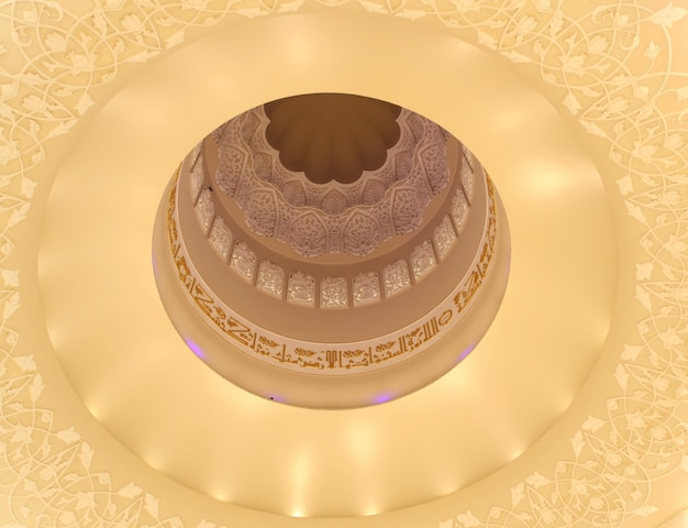 Close up shot of a beautiful patterned white ceiling of a mosque