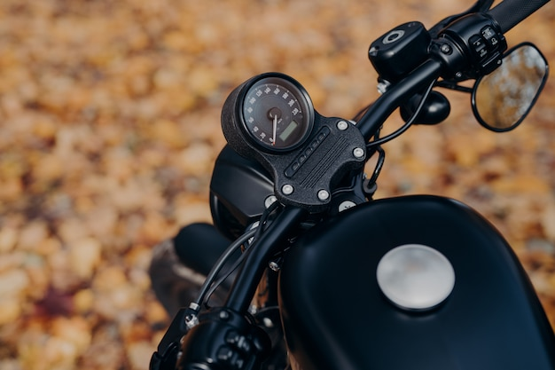 Close up shot of black motorbike against ground covered with orange foliage in autumn park
