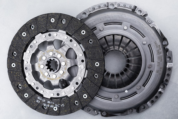 Close-up shot of clutch disk and basket on background