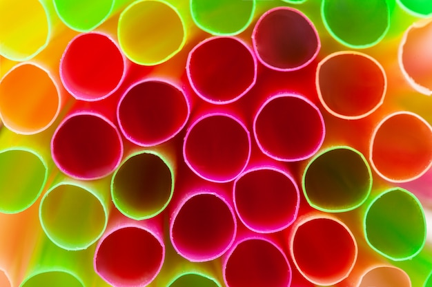Close up shot of colored straws