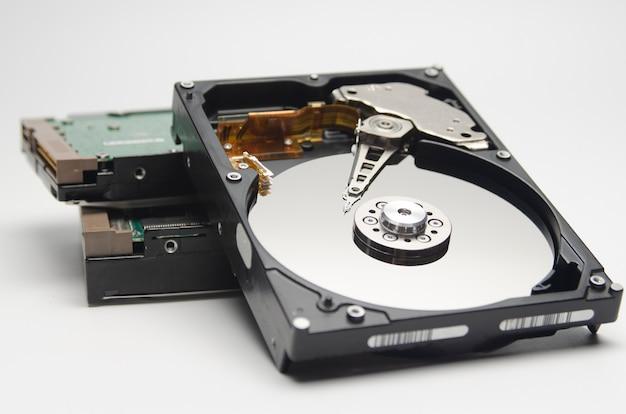 Close up shot, disassembled hard drive that part of computer