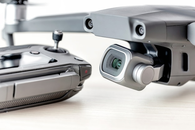 Close-up shot of a drone and remote controller