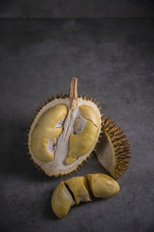Close up shot on durian, sweet king of fruits on dark background,