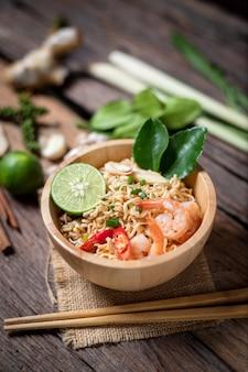 Close-up shot instant noodles with lemon shrimp chilli