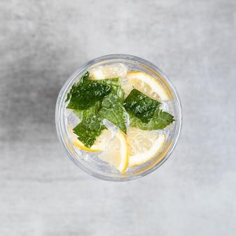 Close-up shot of lemonade on wooden background