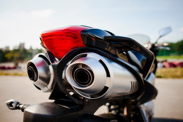 Close up shot of motorbike rear