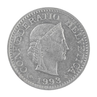 Крупным планом старый швейцарский франк монета 10 раппен, изолированные на белом фоне
