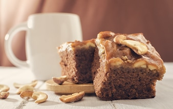 Close up shot of homemade salted caramel cream brownie toffee