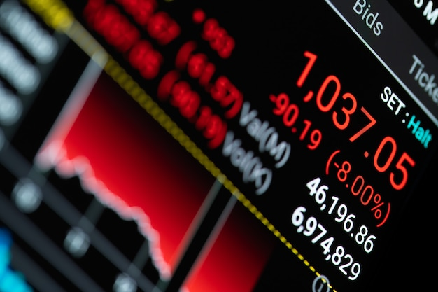 Крупным планом - светодиодный экран, показывающий обвал фондового рынка из-за глобального кризиса, вызванного вирусом коронавируса.