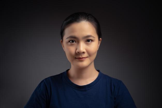肖像画のアジアの女性のクローズアップショット。背景に分離されています。