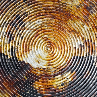 Close up shot of old spiral on metal plate texture background