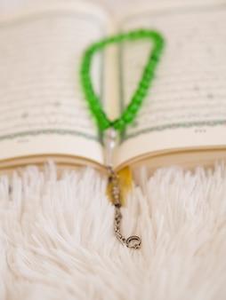 Close up shot of prayer beads charm