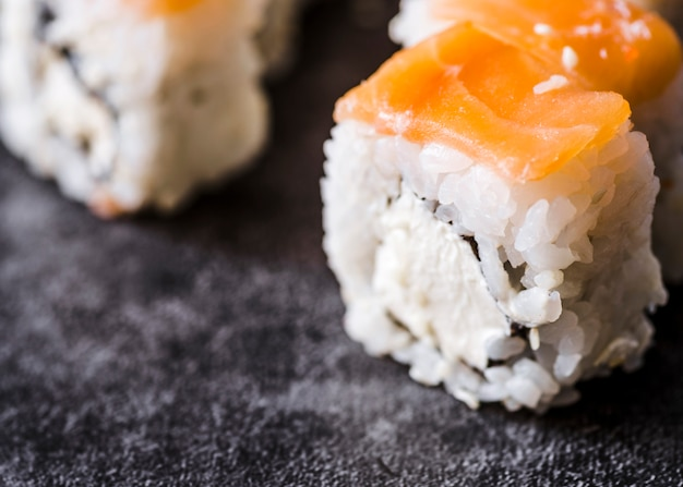 Close-up shot of a sushi roll