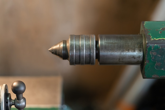 Close up shot. turning high precision automotive part by cnc lathe.