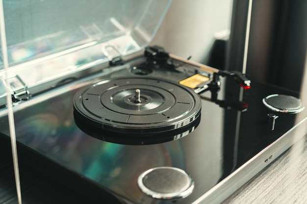 Close up shot of a vintage record player