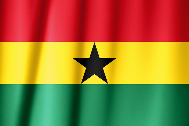 Close up shot of wavy, colorful flag of ghana