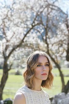 Close up shot young woman gazing