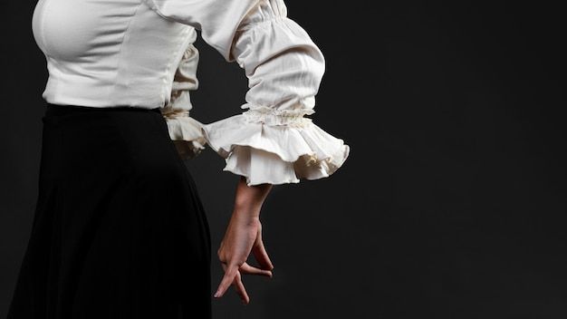 Close-up side view of flamenca dancer