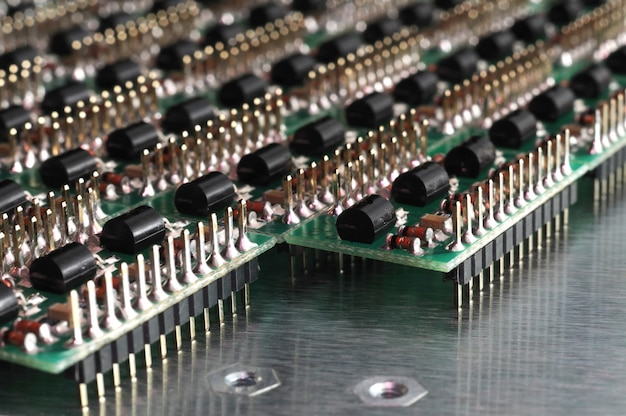 Close-up side view of a pcb board with smd components
