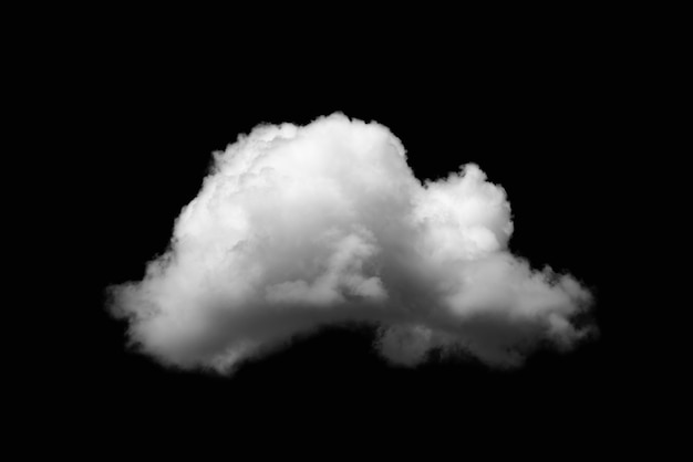 Close-up single white cloud isolated on black, black and white image
