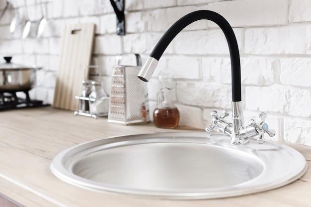 Close-up sink  in modern kitchen