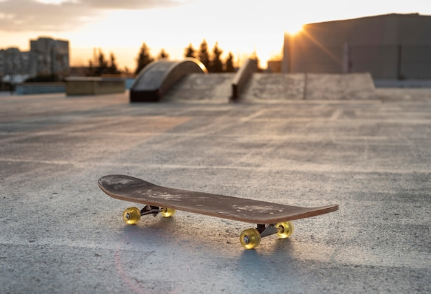 Close up skateboard on rink