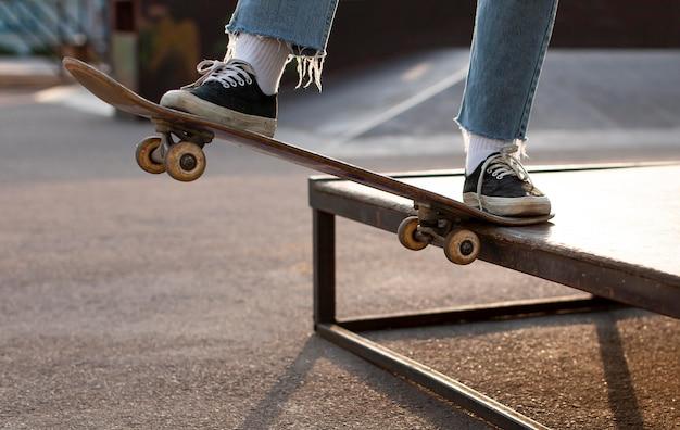 Close up skater doing a trick