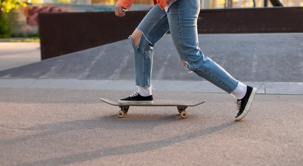 Close up skater exercising in park
