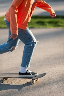 Close up skater training outdoors